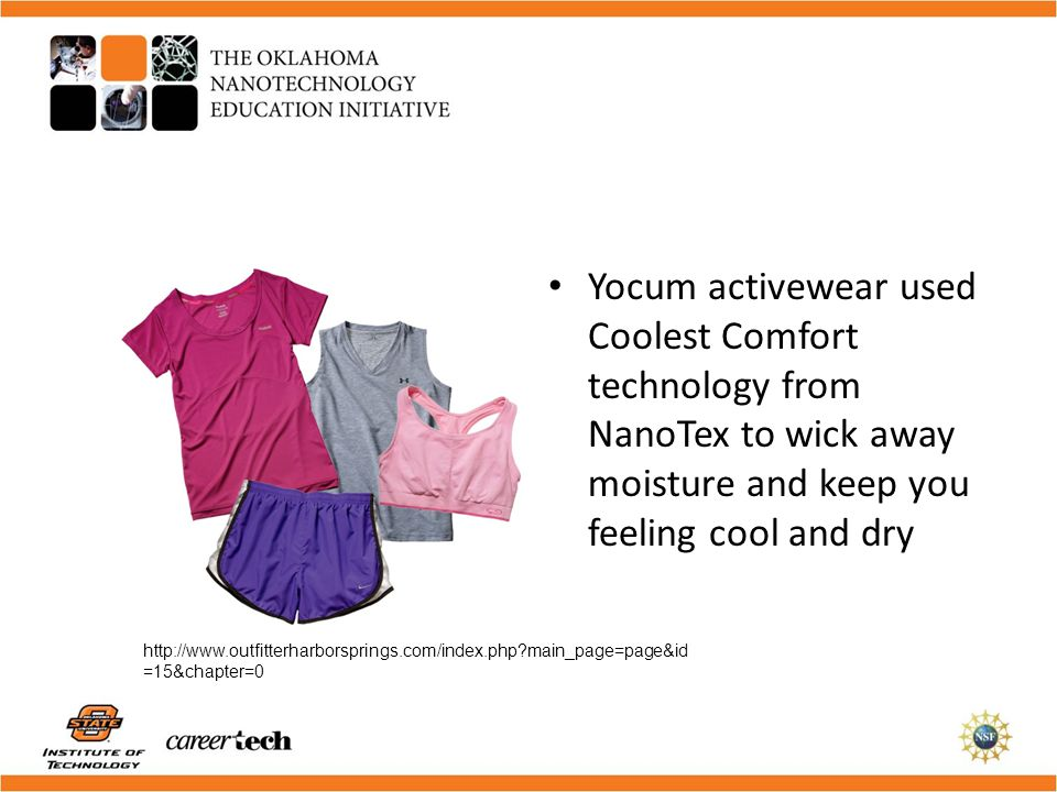 Yocum activewear used Coolest Comfort technology from NanoTex to wick away moisture and keep you feeling cool and dry