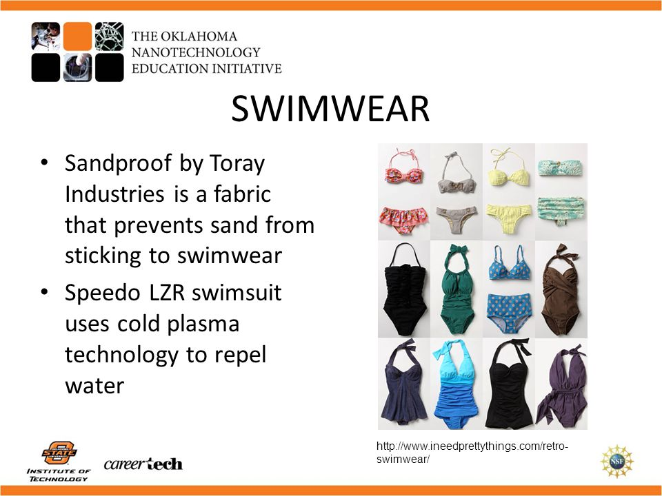SWIMWEAR Sandproof by Toray Industries is a fabric that prevents sand from sticking to swimwear.