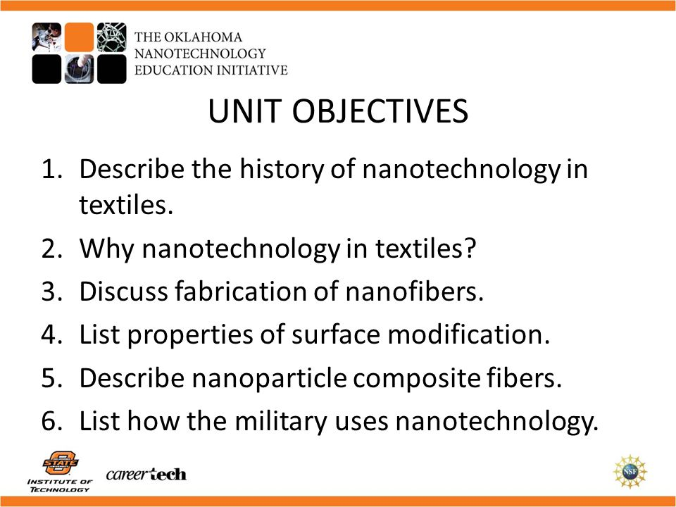 UNIT OBJECTIVES Describe the history of nanotechnology in textiles.
