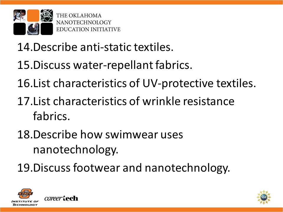 Describe anti-static textiles.
