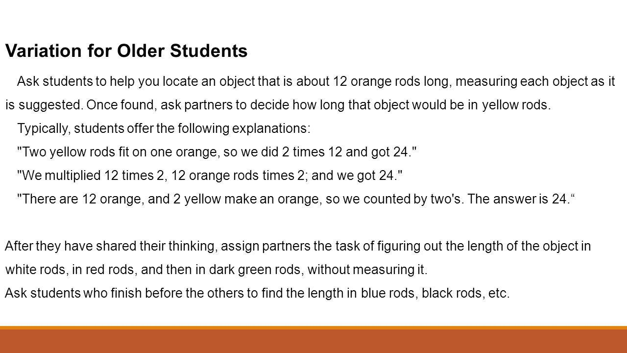 Variation for Older Students