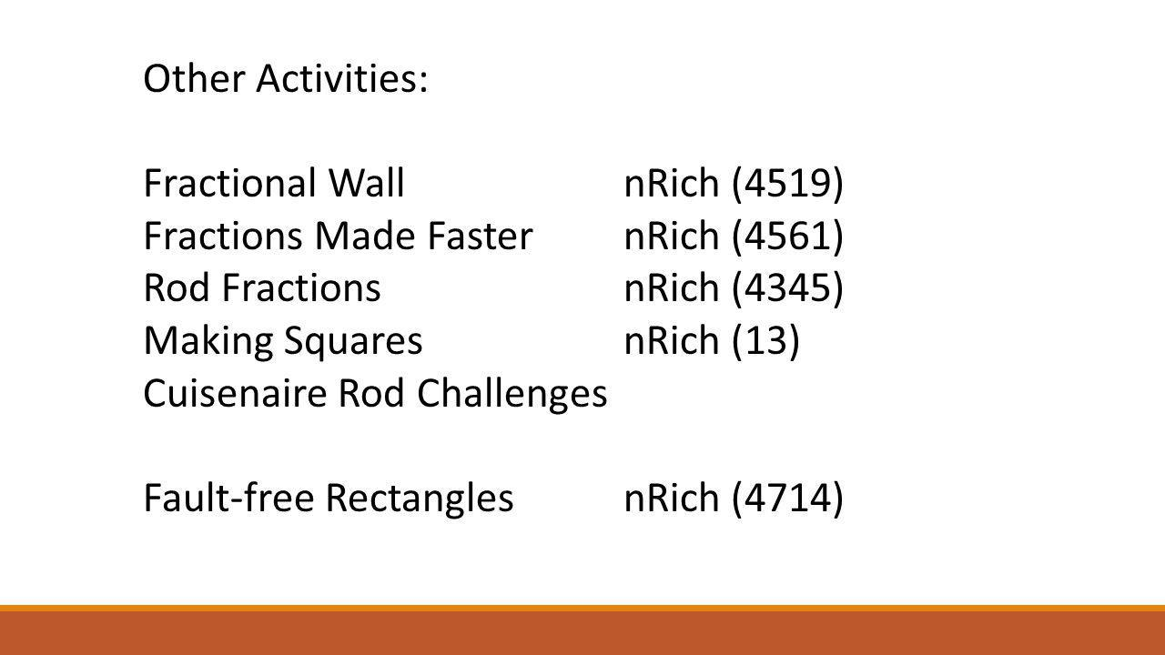 Other Activities: Fractional Wall nRich (4519) Fractions Made Faster nRich (4561) Rod Fractions nRich (4345)