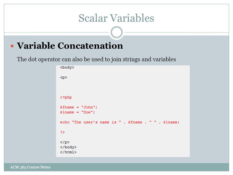 Scalar Variables Variable Concatenation