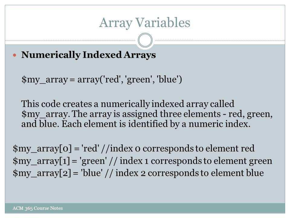 Array Variables Numerically Indexed Arrays