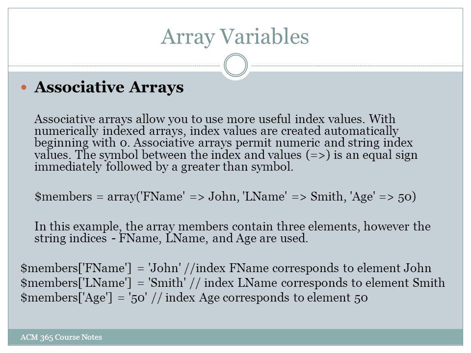 Array Variables Associative Arrays