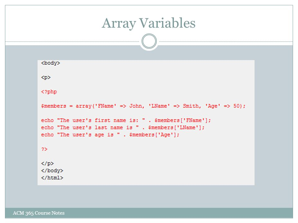 Array Variables ACM 365 Course Notes