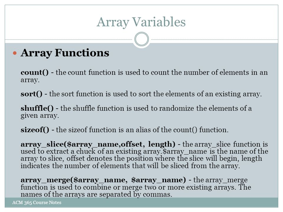 Array Variables Array Functions