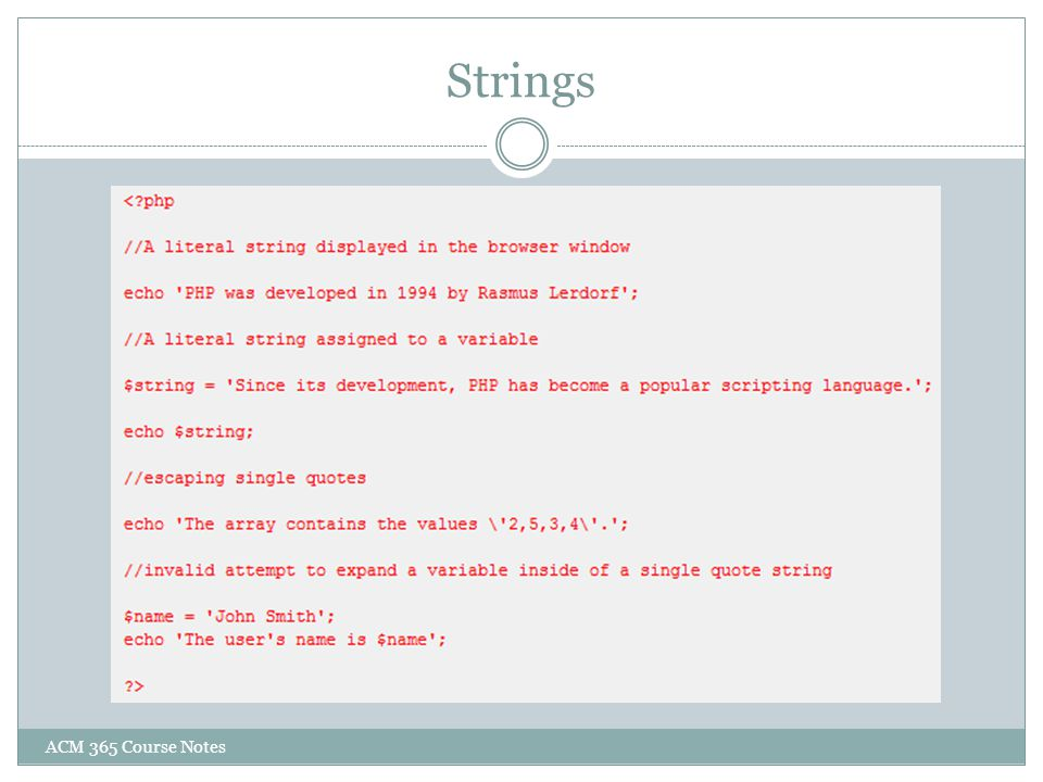 Strings ACM 365 Course Notes