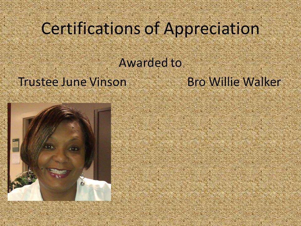 Certifications of Appreciation