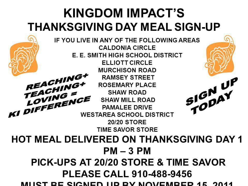 KINGDOM IMPACT'S THANKSGIVING DAY MEAL SIGN-UP
