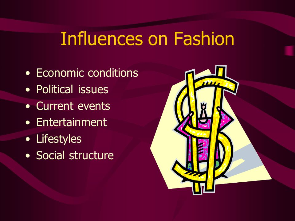 Influences on Fashion Economic conditions Political issues