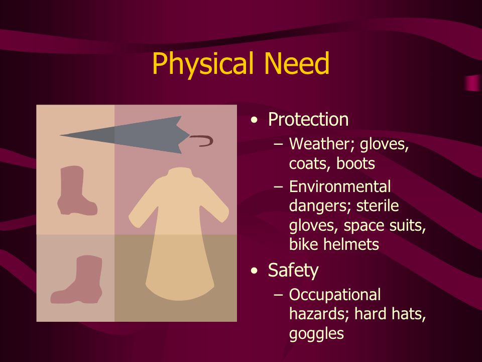 Physical Need Protection Safety Weather; gloves, coats, boots