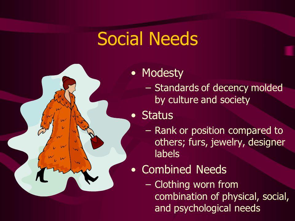Social Needs Modesty Status Combined Needs