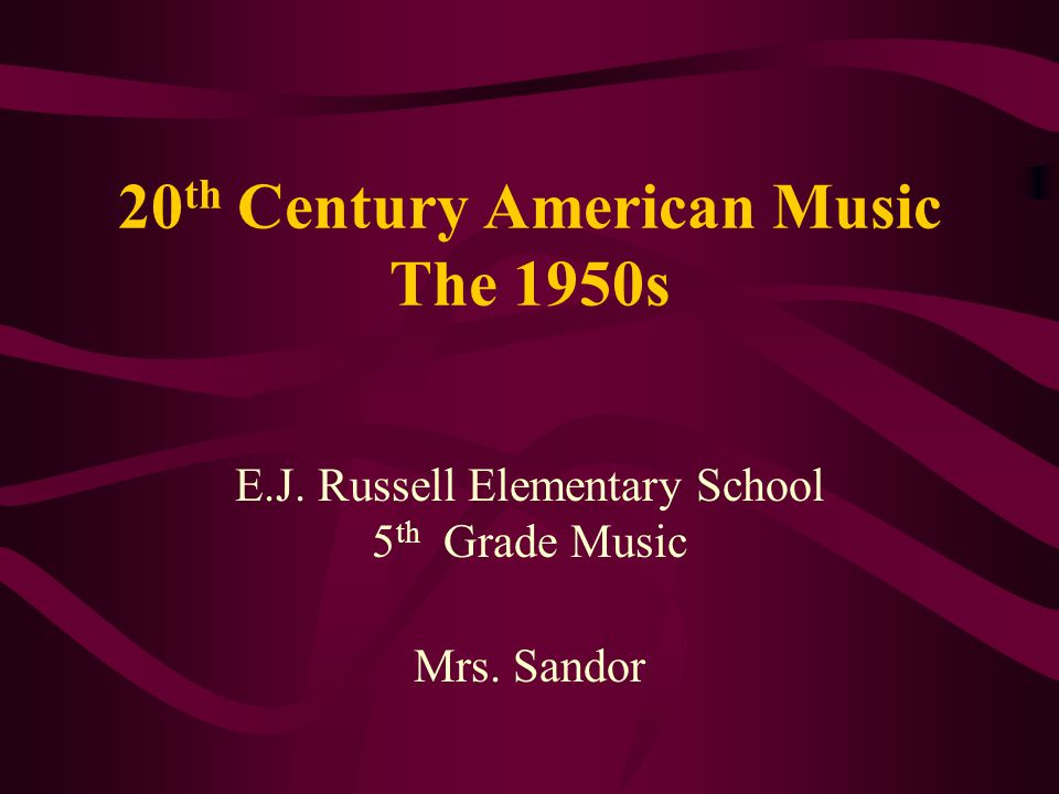 20th Century American Music The 1950s
