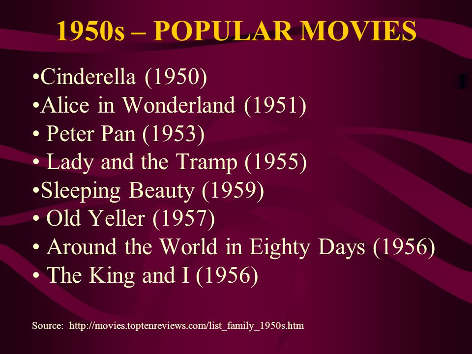 1950s – POPULAR MOVIES •Cinderella (1950) •Alice in Wonderland (1951)