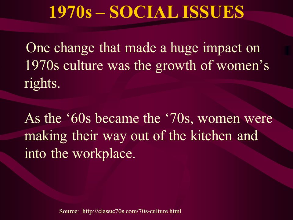 1970s – SOCIAL ISSUES
