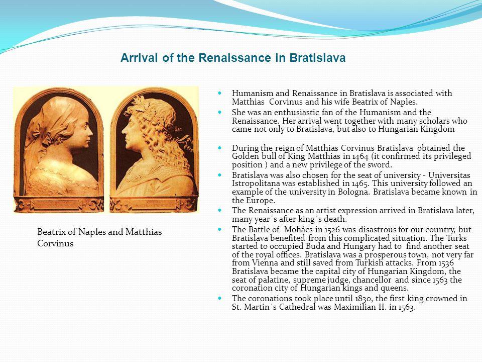 Arrival of the Renaissance in Bratislava
