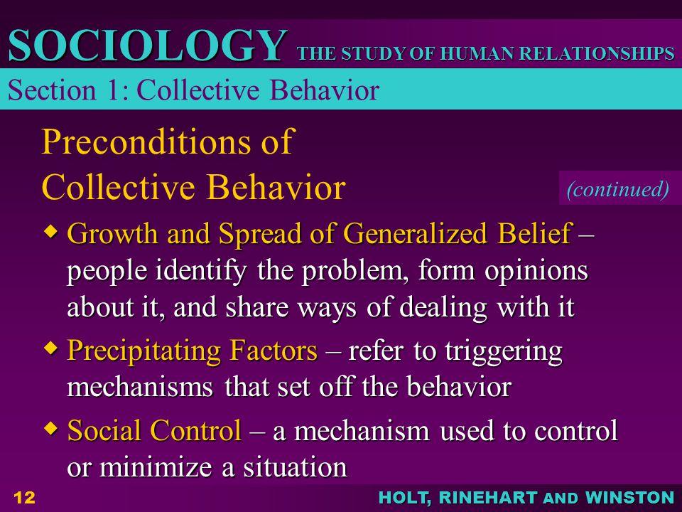 Preconditions of Collective Behavior