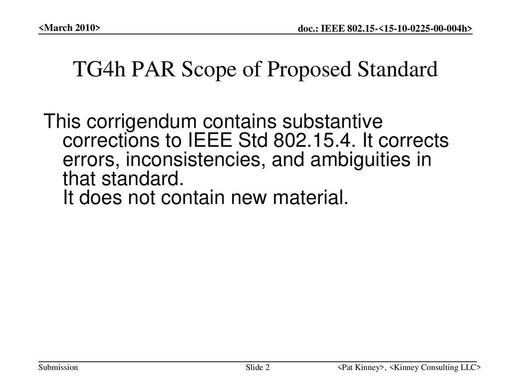TG4h PAR Scope of Proposed Standard