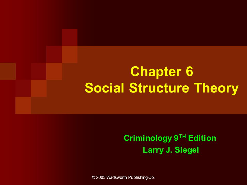 Chapter 6 Social Structure Theory