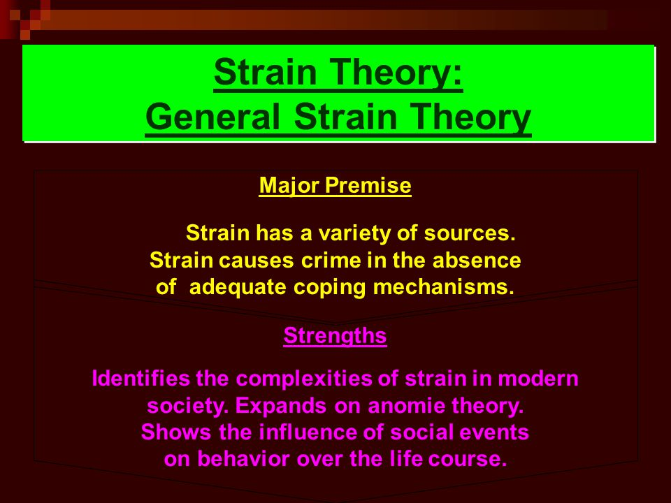 Strain Theory: General Strain Theory