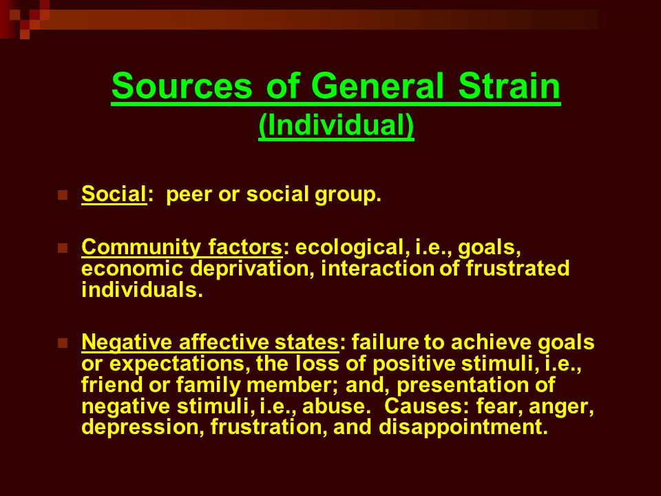 Sources of General Strain (Individual)