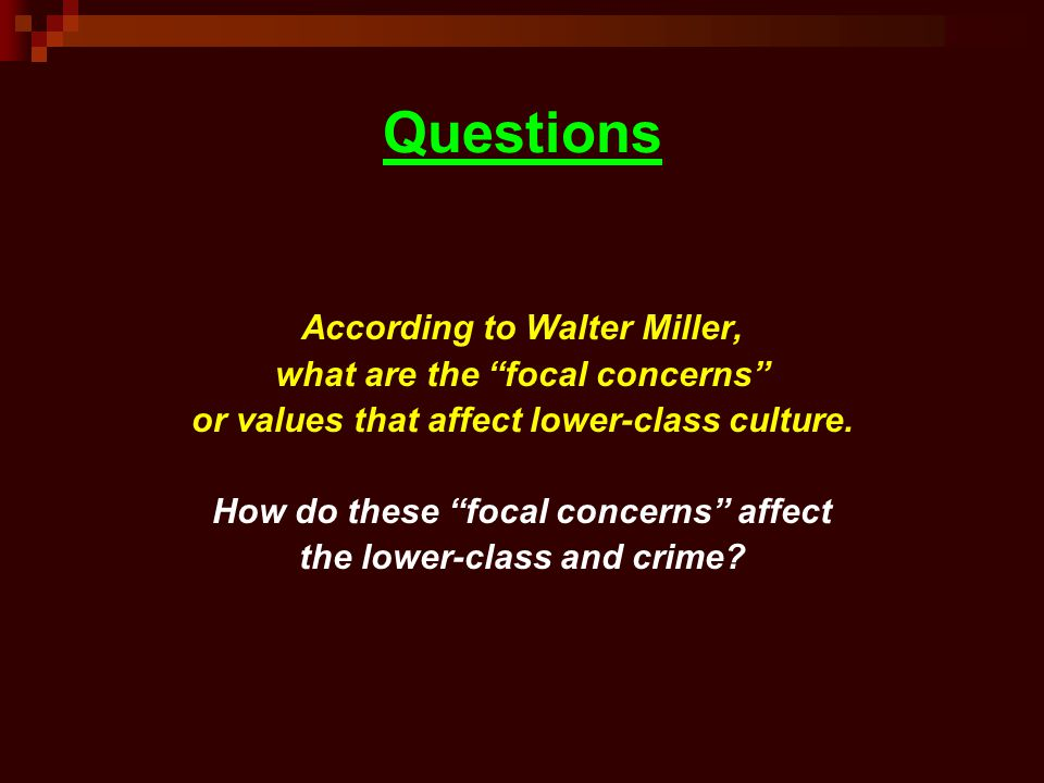 Questions According to Walter Miller, what are the focal concerns