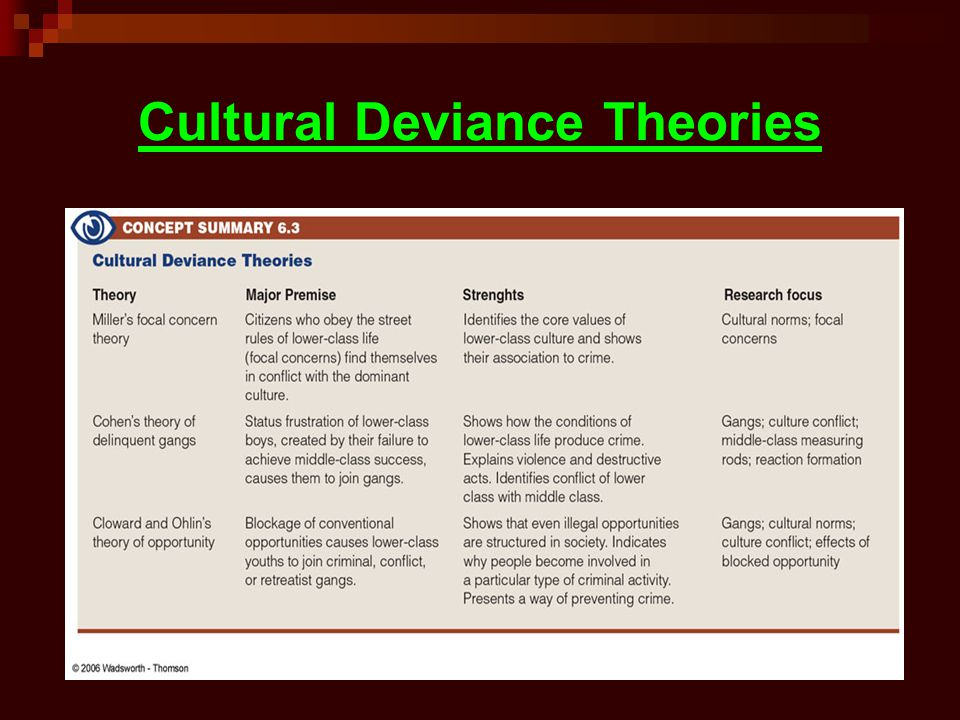 Cultural Deviance Theories