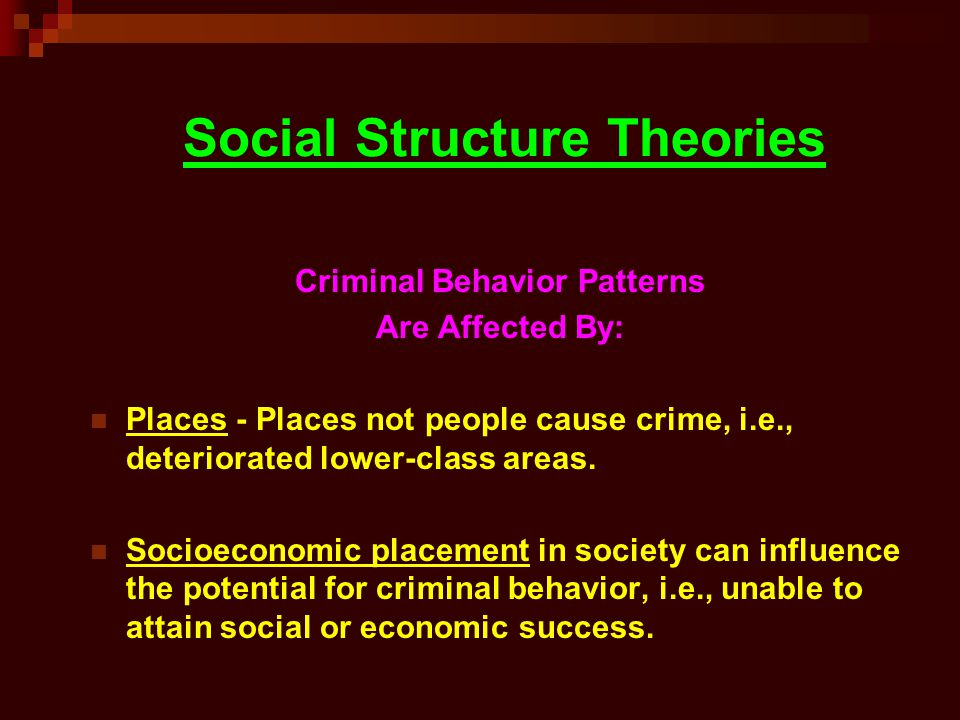 social structure theory In the social sciences, social structure is the patterned social arrangements in society  'four concepts of social structure', journal for the theory of social .