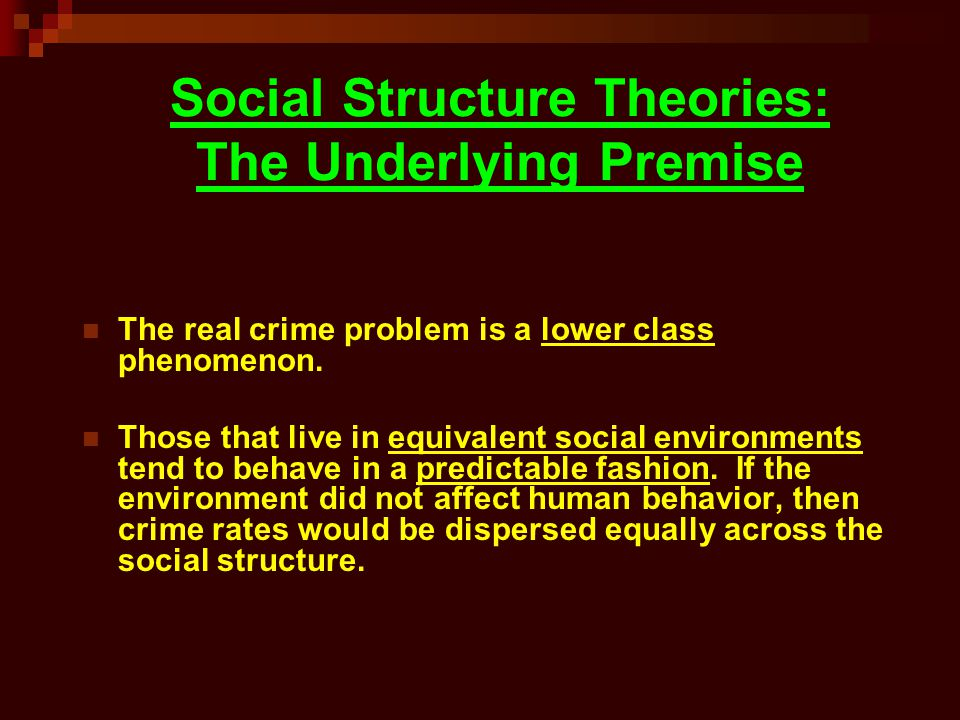 Social Structure Theories: The Underlying Premise
