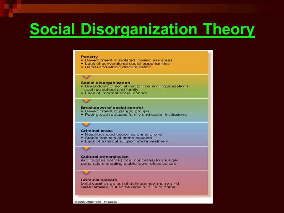 social disorganisation explanation regarding crime