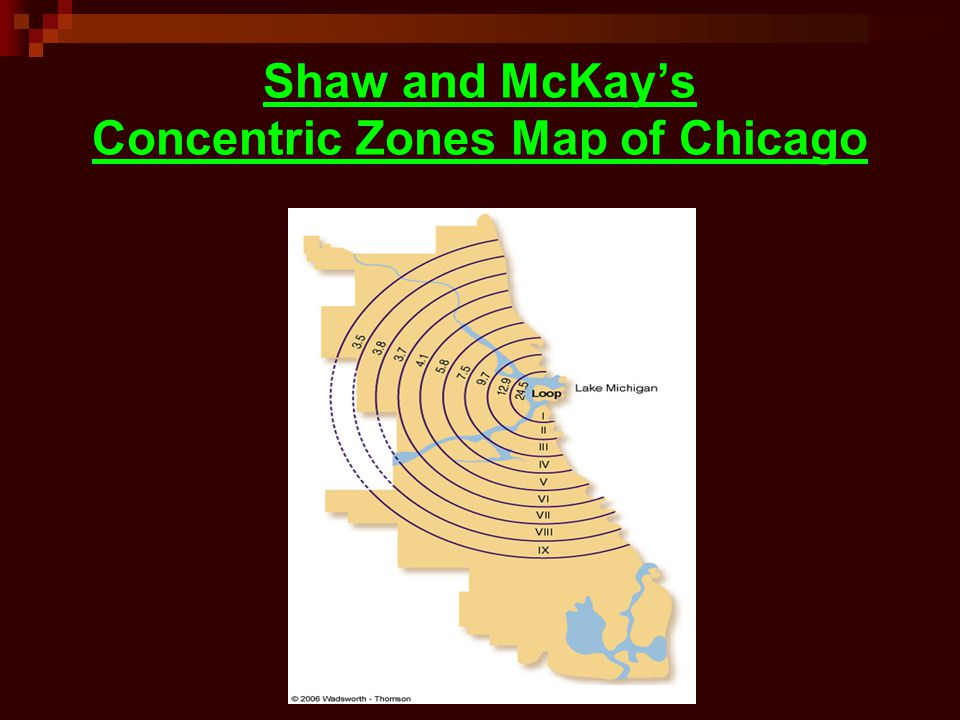 Shaw and McKay's Concentric Zones Map of Chicago