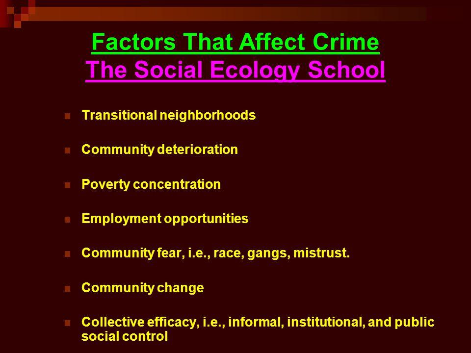 Factors That Affect Crime The Social Ecology School