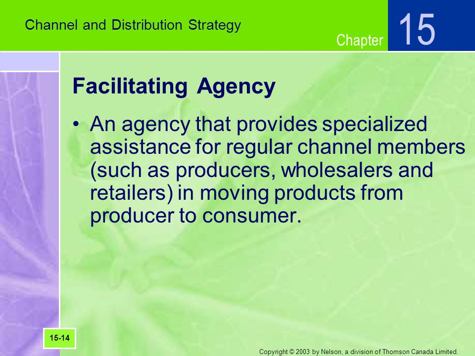 15 Channel and Distribution Strategy. Facilitating Agency.