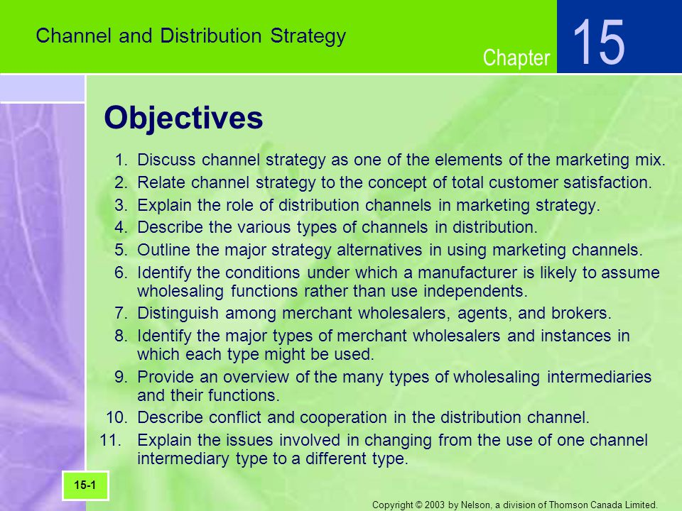 15 Objectives Channel and Distribution Strategy