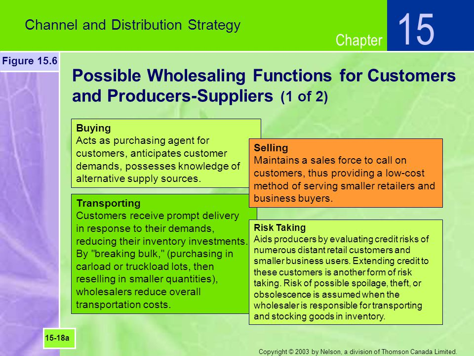 15 Channel and Distribution Strategy. Figure 15.6. Possible Wholesaling Functions for Customers and Producers-Suppliers (1 of 2)