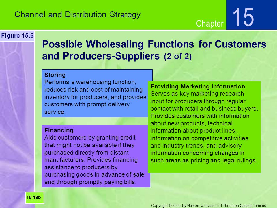 15 Channel and Distribution Strategy. Figure 15.6. Possible Wholesaling Functions for Customers and Producers-Suppliers (2 of 2)