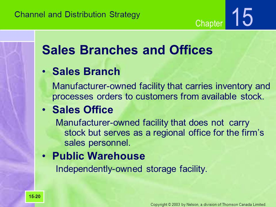 Sales Branches and Offices