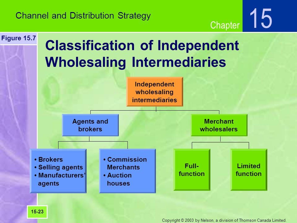 Classification of Independent Wholesaling Intermediaries