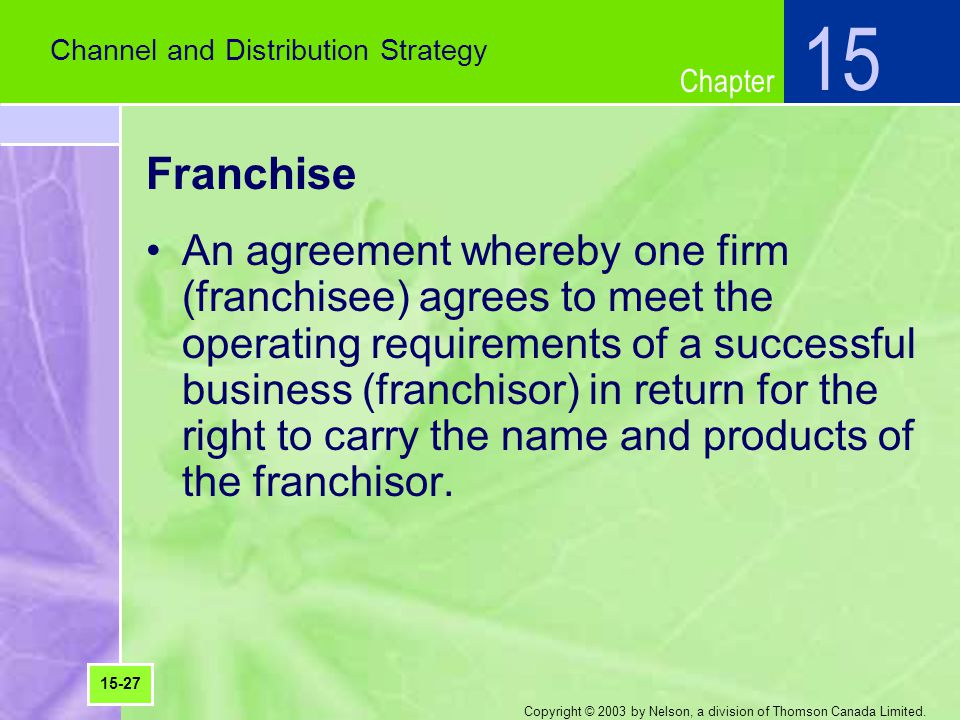 15 Channel and Distribution Strategy. Franchise.