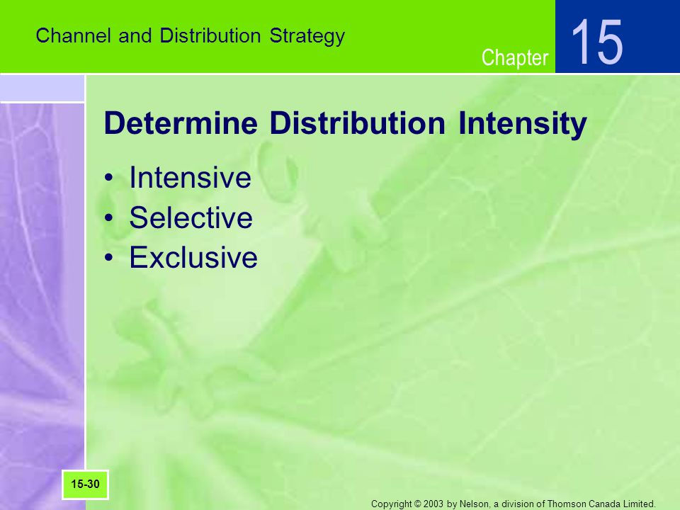 Determine Distribution Intensity