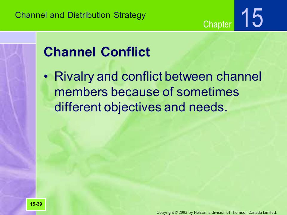 15 Channel and Distribution Strategy. Channel Conflict.