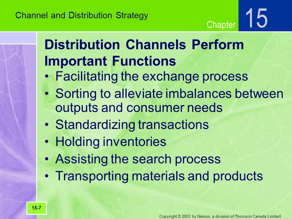 Distribution Channels Perform Important Functions