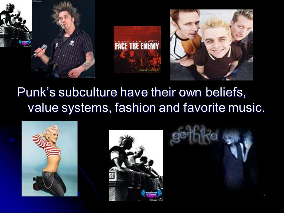 Punk's subculture have their own beliefs, value systems, fashion and favorite music.