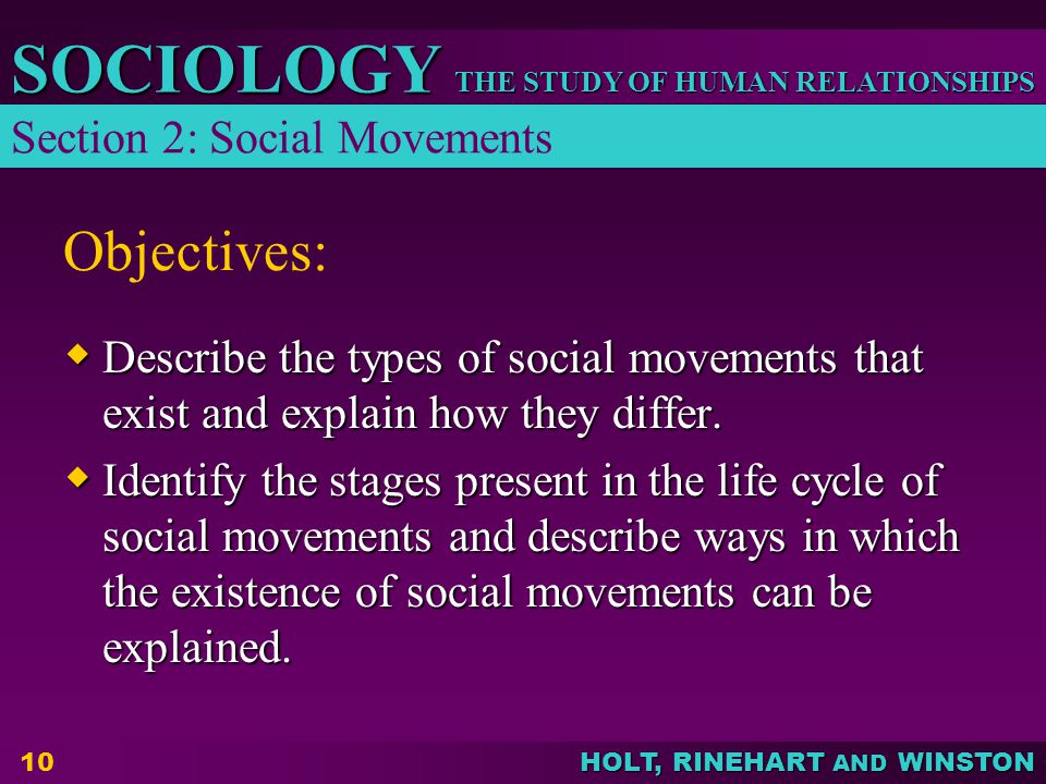 Objectives: Section 2: Social Movements