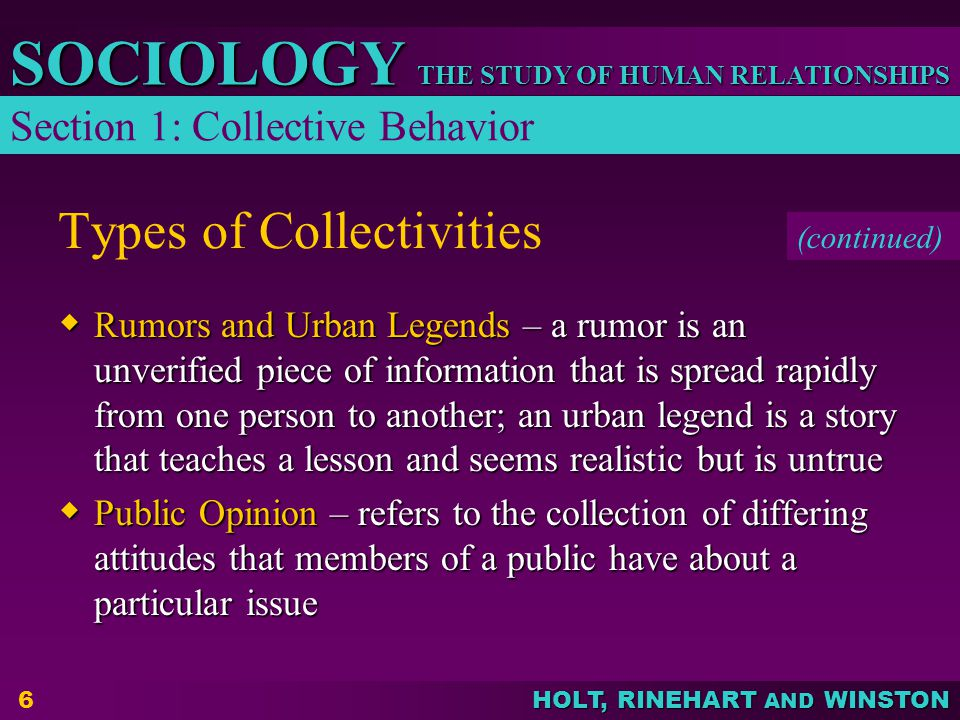 Types of Collectivities