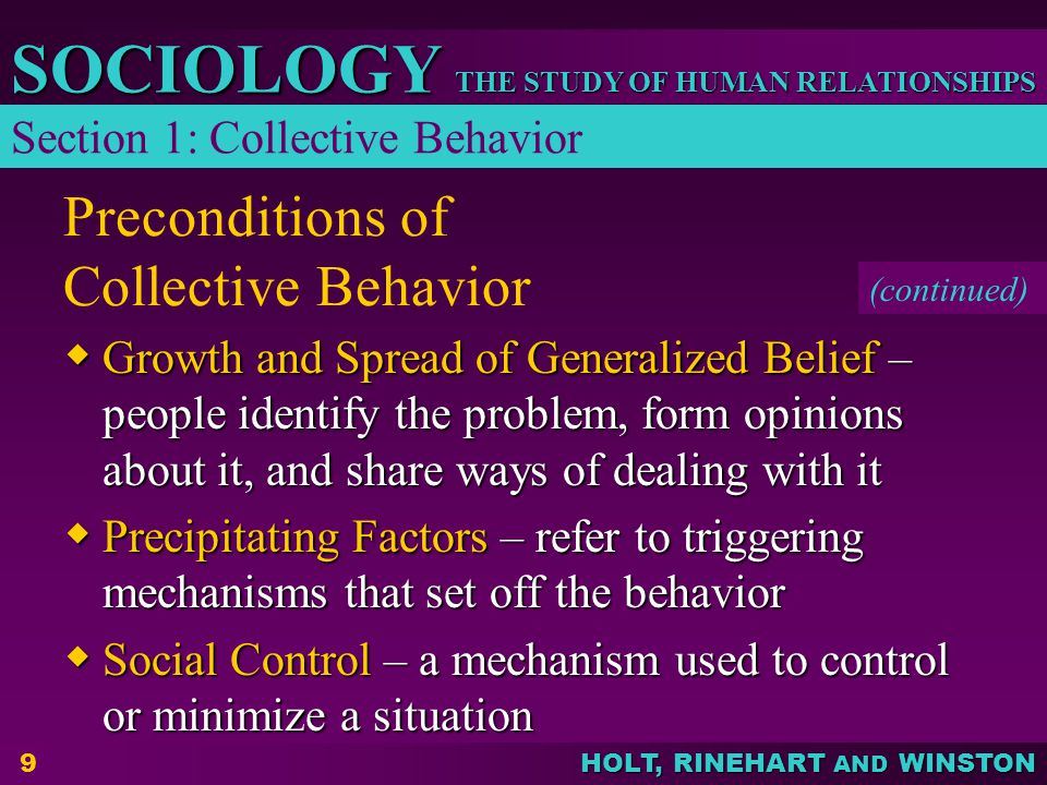 Preconditions of Collective Behavior