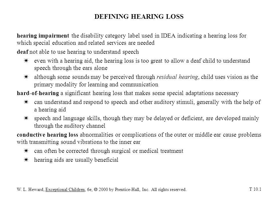DEFINING HEARING LOSS