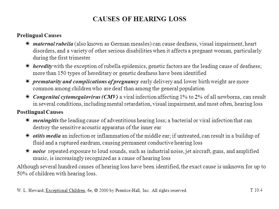 CAUSES OF HEARING LOSS Prelingual Causes