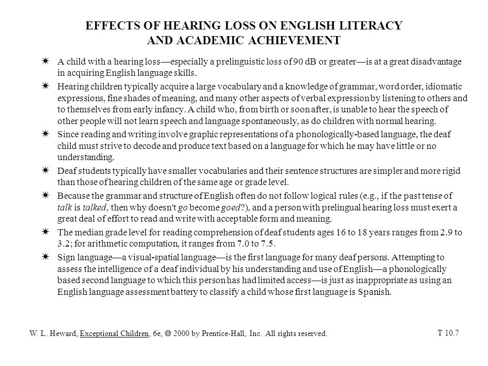EFFECTS OF HEARING LOSS ON ENGLISH LITERACY AND ACADEMIC ACHIEVEMENT